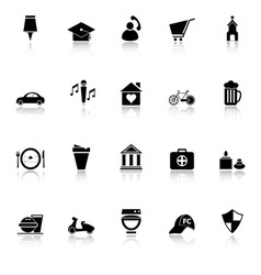 Map sign and symbol icons with reflect on white vector