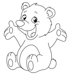Outlined happy teddy bear vector
