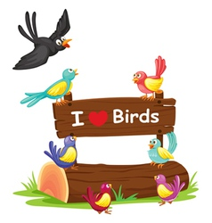 Birds and a notice board vector