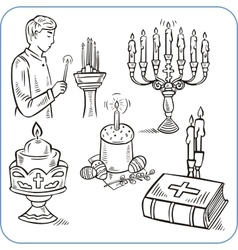 Easter cakes and bible - vector