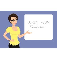 Business woman is demonstrating a banner vector