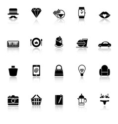 Department store item category icons with reflect vector