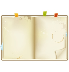 Open old recipe book vector