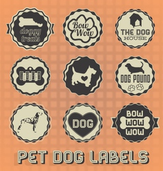 Vintage pet dog labels and icons vector
