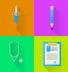 Colored flat icons for hospital vector