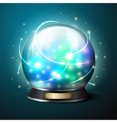 Bright glowing crystal ball for fortune vector