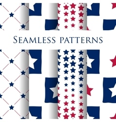 Set of seamless patriotic pattern with blue stars vector