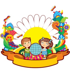 Children world flower vector