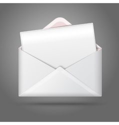 Blank white opened envelope and postcard vector