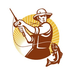 Fly fisherman vector