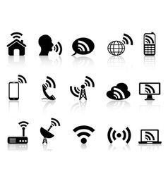 Black network icons set vector