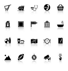 Public place sign icons with reflect on white vector