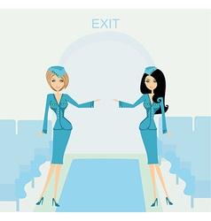 Two beautiful stewardess in blue uniforms inside vector
