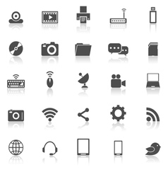 Hi tech icons with reflect on white background vector