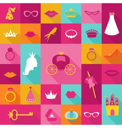Priness flat icons set - crown lips rings hats vector