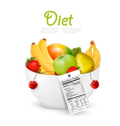 Bowl of healthy fruit with a nutrient label vector
