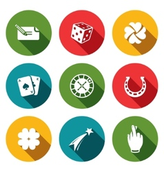 Gambling and fortune icon collection vector