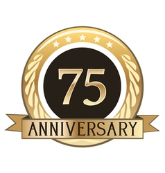 Seventy five year anniversary badge vector