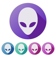 Set flat icons of alien head creature from another vector