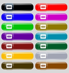 Cassette icon sign set from fourteen multi-colored vector