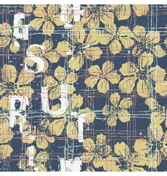 Grunge hibiscus flowers seamless pattern vector
