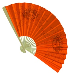 Traditional folding fans with a flower vector