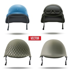 Set of military helmets vector