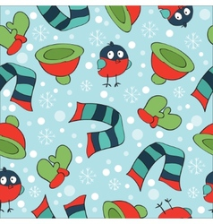 Christmas theme with bullfinch mittens scarves vector