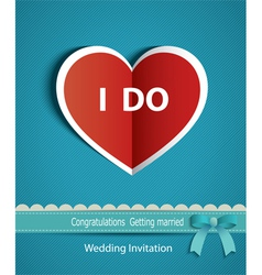 Wedding card in form of heart paper with ribbon vector
