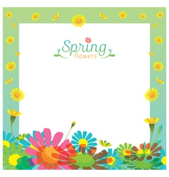 Flowers spring season frame vector