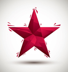 Red star geometric icon made in 3d modern style vector