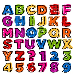 Colorful doodle alphabet and numbers vector