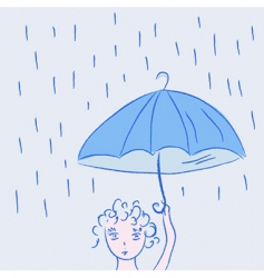 Child with umbrella vector
