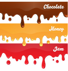Chocolate honey jam drips on white background vector