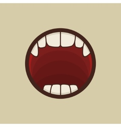 Open vampire mouth with teeth vector