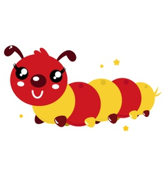 Happy cartoon caterpillar vector