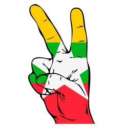 Peace sign of the myanmar flag vector