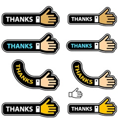 Thanks shake hand labels vector