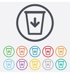 Send to the trash icon recycle bin sign vector