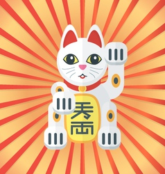 Flat style maneki cat icon on radiant background vector