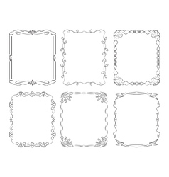 6 black rectangular frames vector