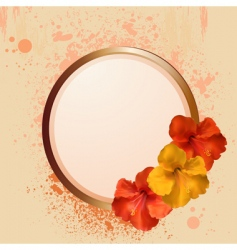 Hibiscus flowers and border vector