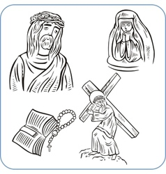 Jesus christ and bible - vector