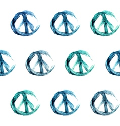 Hand-drawn watercolor peace signs seamless pattern vector