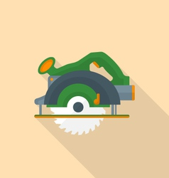Flat style electric hand circular saw icon with vector