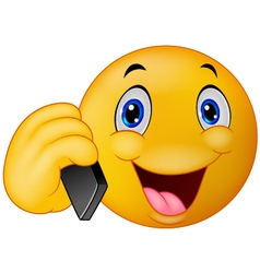 Emoticon smiley talking on cell phone vector