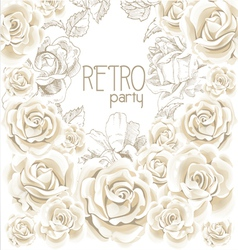 Retro party white flowers background vector
