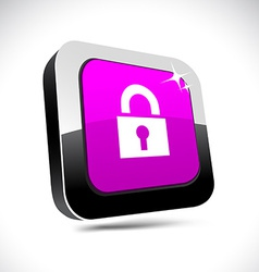Padlock 3d square button vector