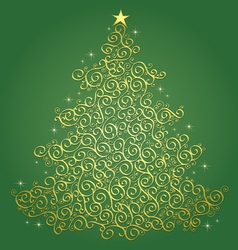 Gold filigree christmas tree-green background vector
