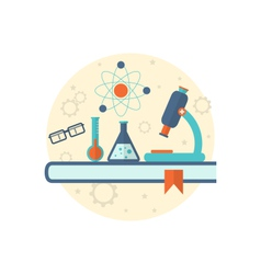 Chemical engineering background with flat icon of vector